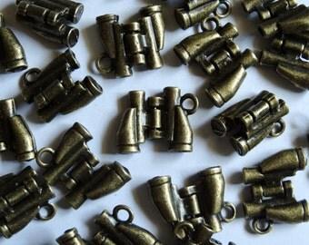10 Antique Gold Binoculars Metal Jewellery Charms 14x17mm