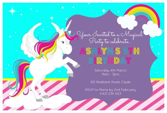 Items Similar To Unicorn Birthday Printable Invitation On Etsy