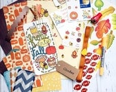 Large October Fall Planner Kit with Dashboard, Journal Cards, Highlighter, Planner Band & More! Works with Erin Condren, Filofax and others