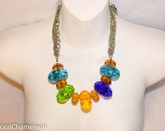 Vintage Multi-Colored Jumbo Bead Necklace