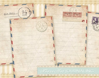 Post cards Vintage post notes Rustic cards on Digital collage sheet for Journaling Scrapbooking