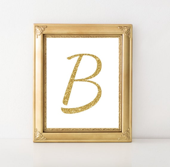 Wall Decor Letter B : Items similar to letter b golden wall art monogram