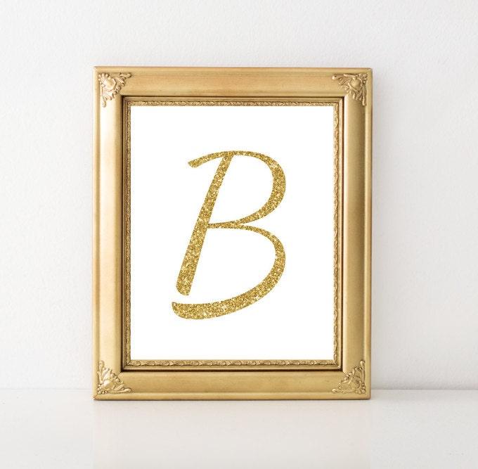 The Letter B Wall Decor : Letter b golden wall art monogram print by