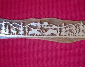 Landscape with deers Scroll Saw Picture