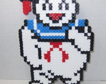 Ghostbusters Stay Puff Marsh Mellow Man & Ghostbusters Logo Perler Bead Art