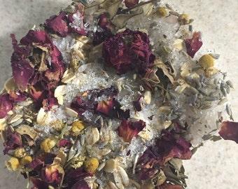 Tea Bath-Lavender & Chamomile Oatmeal Bath Tea Bags- Organic-All Natural-4 bags + free options
