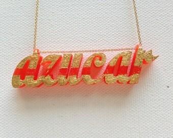 Azucar | Typography | Pendant | Orange & Gold | Grandma | Dads | Grads