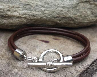 FREE SHIPPING-Stainless Steel Men's Bracelet, Men's Leather Bracelet, Unisex Leather Bracelet, Thin Brown Leather Bracelet, Men Bangle