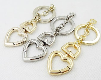 9.2cm Heart Shape Golden Key Clasp, Pendant, Key Ring, Key Chain, High Quality Buckle, Metal Key Chain