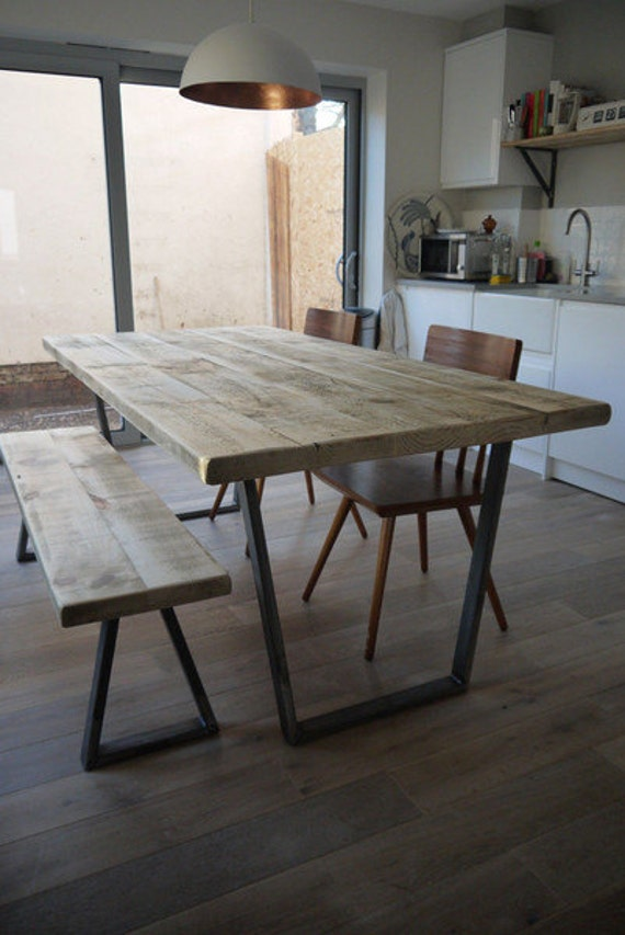 industrial reclaimed dining table v frame steel base handmade uk