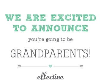 Printable, customisable Pregnancy announcement for grandparents