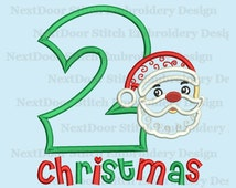 Santa Claus face second Christmas embroidery applique design, 2nd xmas number 1-9 selection,  chrs-126-2