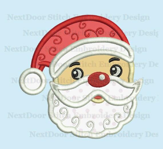 Items similar to santa claus face embroidery applique