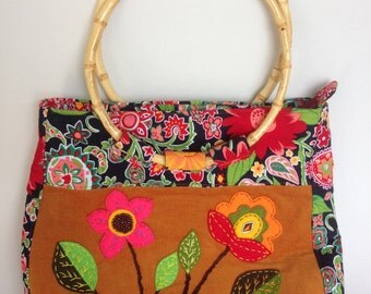 Summer Bag, Bag With Flowers, Bright Corduroy Bag with Summer flowers, Bag with Bamboo Handles, Summer Bag, Gift for Women