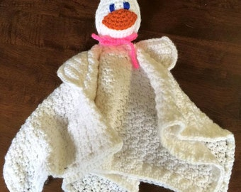 Crochet Goose Baby Lovey with rattle