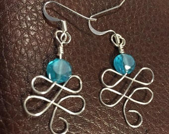 Swirl Earrings with Blue Stone