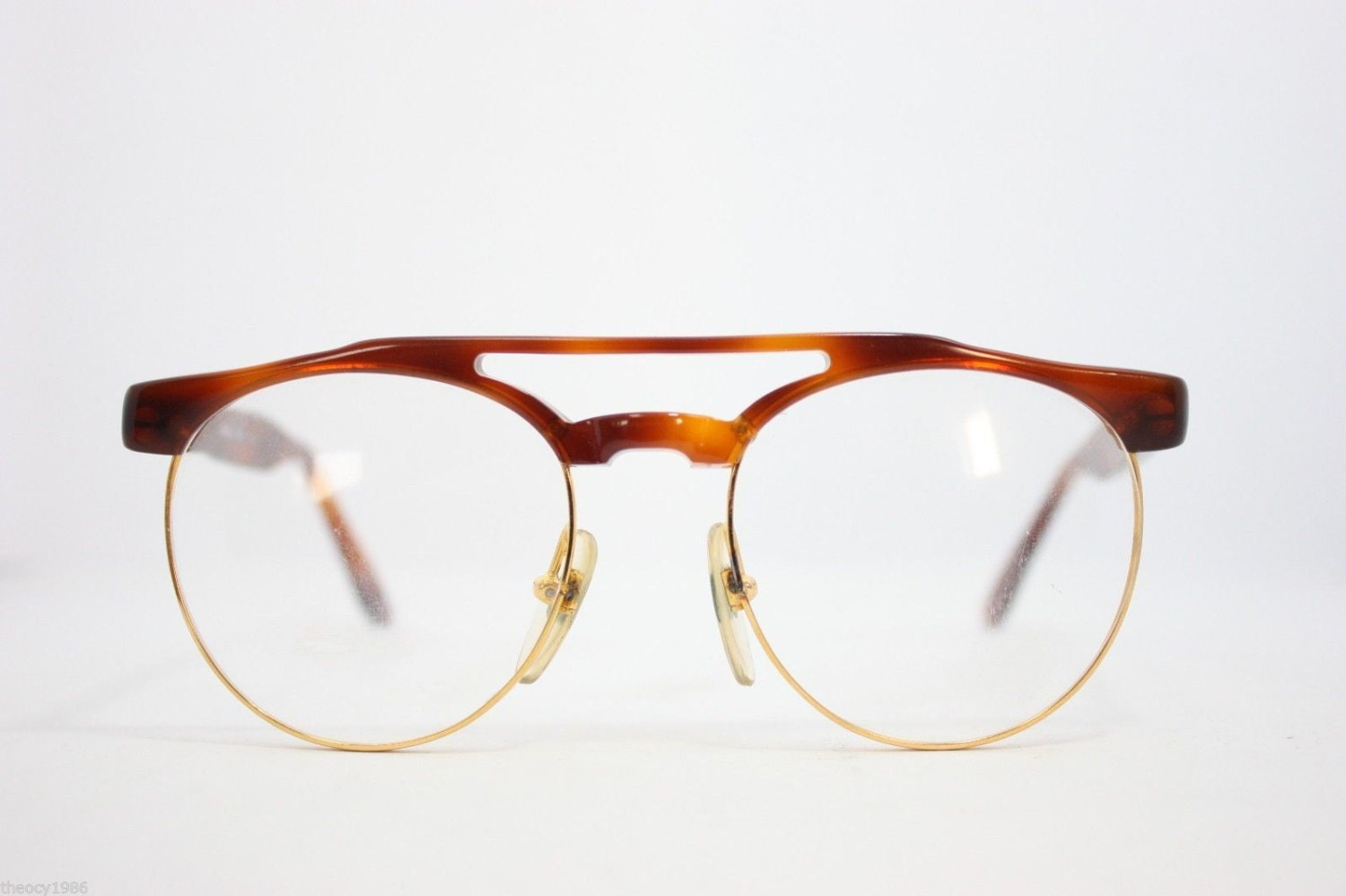 Maga Vintage Eyeglasses Eyewear Made in Italy Gold Havana 48mm