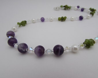 Amethyst, Pearl, Peridot & Sterling Silver Necklace.