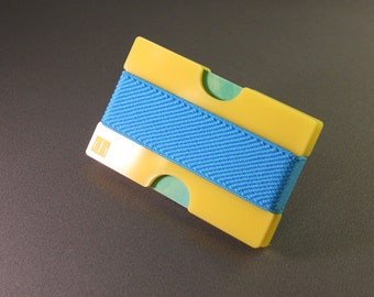 Minimalist wallet, credit card wallet, plexi wallet, slim wallet, mini, YELLOW with elastic band, choose your colour band!