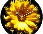 Yellow Flower with Raindrops Clock
