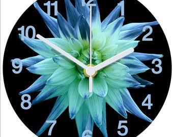 Blue-green Dahlia Clock