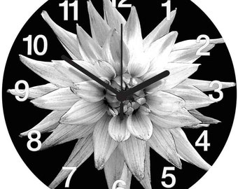 Black and White Dahlia Clock