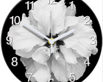 Black and White Hibiscus Clock