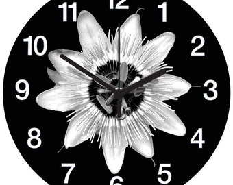 Black and White Passion Flower Clock