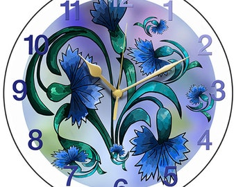Blue Cornflowers Clock