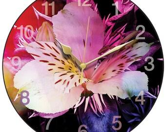 Pink Alstroemeria Clock