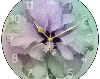 Purple-green Hibiscus Clock