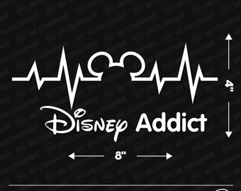 "Disney Heartbeat Disney Addict 8""x4"" Vinyl Decal"