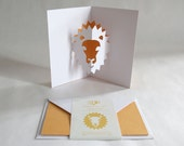 Pop-up Card // Lion Yellow // Creative Stationery, Everyday Gift Card, Birthday Card, Greeting Card, Decorative Card