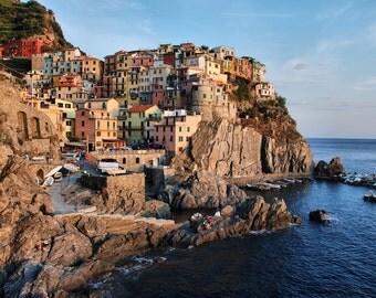 Sunset on Manarola - Italian Riviera - La Spezia - Cinque Terre - Italy - Italia - Photo - Print