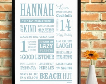 Friends, Family and Loved Ones Personalised Memory Print.
