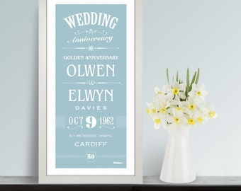Anniversary Personalised Print. Unique Bespoke Gift for the Happy Couple.