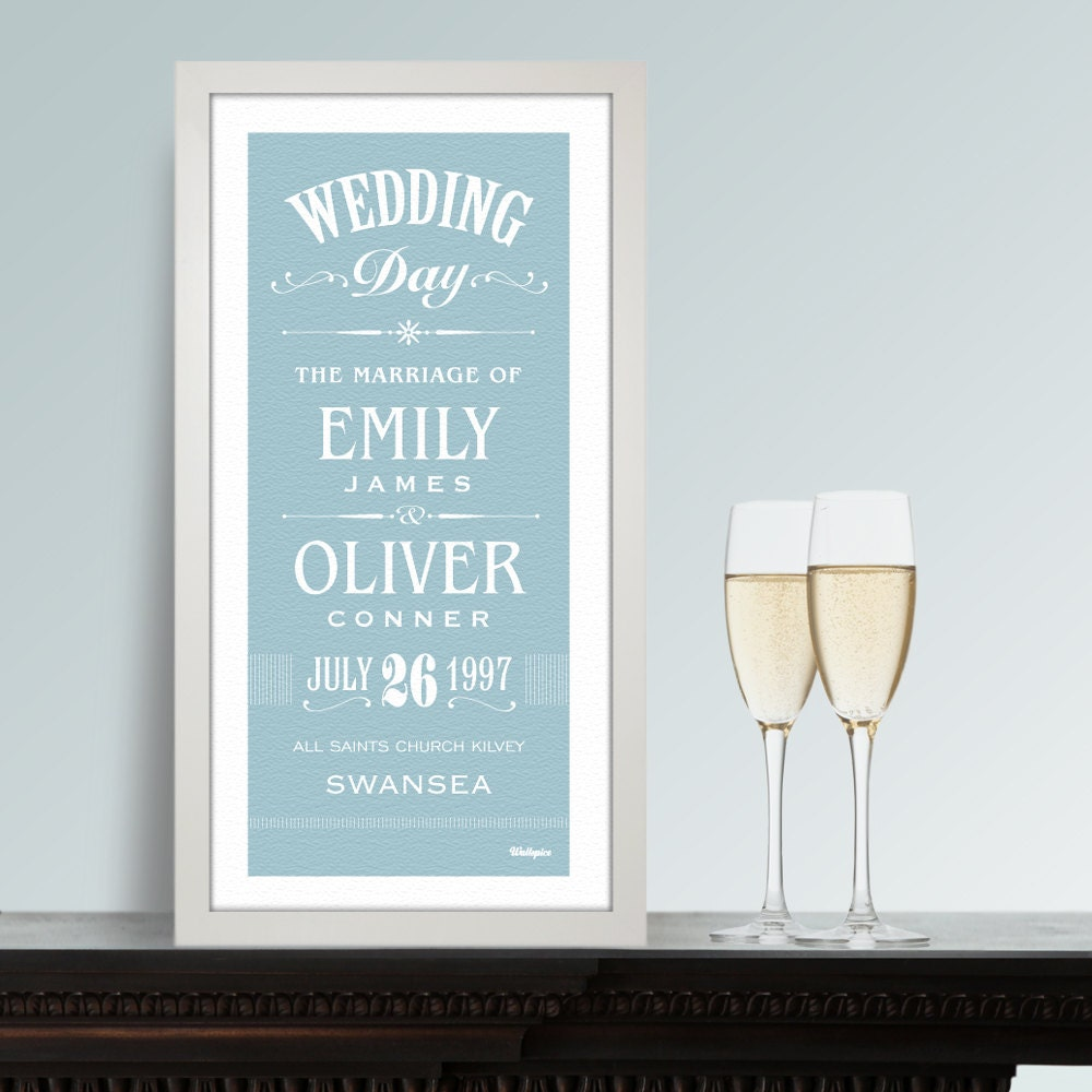 Wedding Day Couples Gift. Personalised Print for the Happy