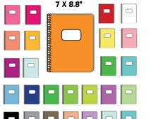 Spiral Notebook Clipart Rainbow colors, printable supplies, 27 colors, PNG, Instant Download. Personal and Commercial use.