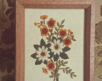 Vintage Framed Crewel Embroidery Of Flowers. 8x6