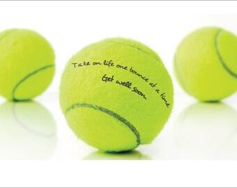 Hand written message on a Tennis Ball