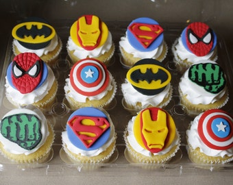 Two Dozen Super Hero/Avengers Fondant Cupcake Toppers-Captain America, Hulk, Superman, Spiderman, Iron Man, Batman