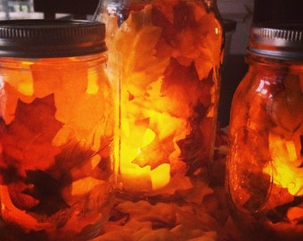 Mason Jar Leaf Lanterns
