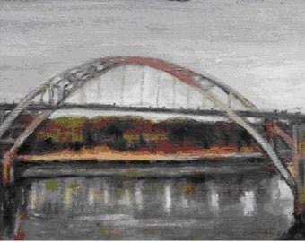 Selma, Alabama, Edumnd Pettus Bridge print, artist Sandra Larson, 8.5x17