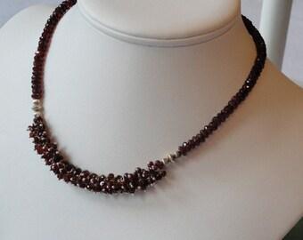 Garnet beaded necklace  -  121