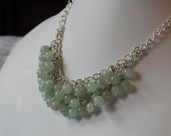 Green Aventurine beaded necklace  -  133