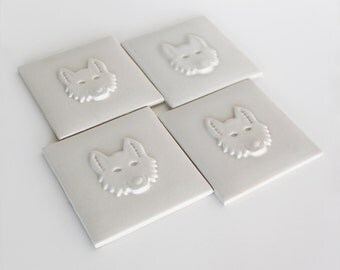 Food Chain Ceramic Tiles- Wolf set of 4