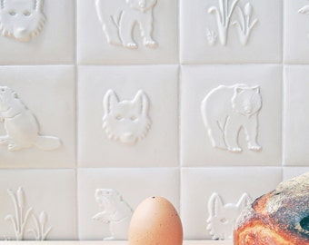 Food Chain Ceramic Tiles- Group of 9