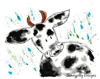 Moo Cow PRINT, Cow nursery decor, nursery print, nursery art, watercolour print, cow, new baby gift, kids wall decor, farm animal
