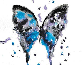 Butterfly PRINT, Butterfly nursery decor, nursery print, nursery art, watercolour print, butterfly, midlight blue butterfly, blue decor