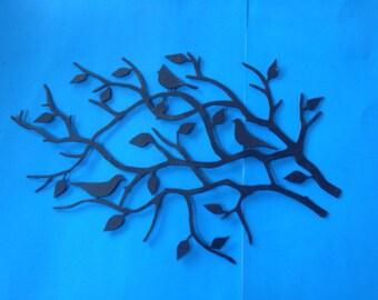 Birds In A Tree Branch Metal Art